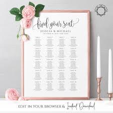 Editable Seating Chart Wedding Rustic Wedding Seating Chart Template Printable Editable