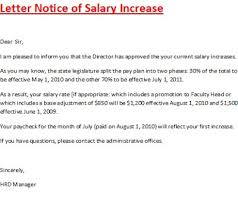 Salary Letters From Employer Salary Increase Letter Template To Employee Salary Adjustment Letter