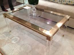 Furniture, Golden And Clear Rectangle Vintage Acrylic Coffee Tables Designs  Ideas: acrylic coffee tables