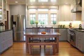 fabulous two tone kitchen cabinets combined with wooden flooring and small breakfast area