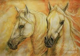 horse painting autumn horses by silvana gabudean dobre