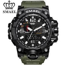 SMAEL Brand <b>Men</b> Sports Watches <b>Dual Display</b> Analog Digital ...