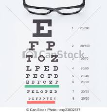 Eyesight Number Chart Eyesight Test Chart With Glasses Over It Healthcare Concept