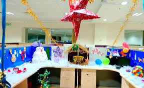 office cubicle christmas decorations. Fine Decorations Office Cubicle Decorations For Christmas Monitor Fireplace Idea With  Cardboard Boxes And Craft Paper  Intended Office Cubicle Christmas Decorations