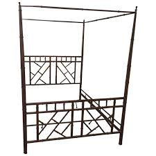 Queen Chinese Chippendale Faux Bamboo Vintage Metal Canopy Bed