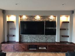 Rustic man cave's new media center finished with Regency Stacked Stone  panels in Misty Morning color