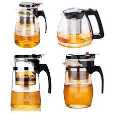 heat resistant clear glass teapot infuser coffee tea leaf filter jug detachable