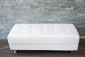 white leather tufted bench  platinum event rentals