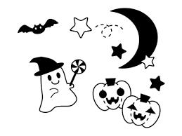 ハロウィンのお化けの白黒イラスト かわいい無料の白黒イラスト モノぽっと