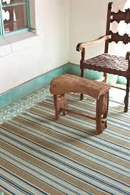 blue heron stripe woven cotton rug
