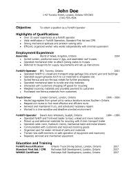 Forklift Driver Objective On A Resume Resume Template Example KohmdnsFree  Examples Resume And Paper Forklift Operator