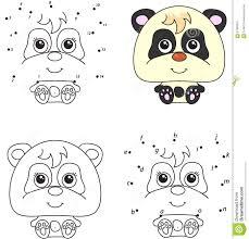 Panda De Dessin Anim Livre De Coloriage Et Point Pour Pointiller Le