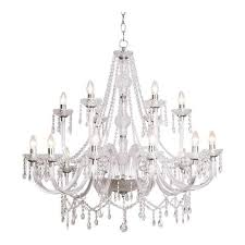 katie 18 light ceiling chandelier fitting in polished chrome and acrylic finish
