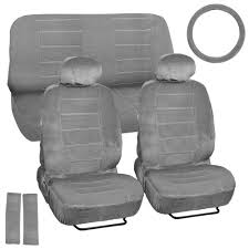 9 Piece High Back Car Seat Covers - Regal <b>Velour</b> Fabric Dotted ...