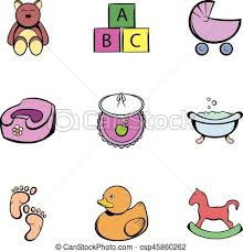 Baby Things Clipart Baby Things Icons Set Cartoon Style Baby Things Icons Set Cartoon