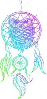 Dream Catcher Outline Dreamcatcher handdrawn outline vector illustration with owl 77