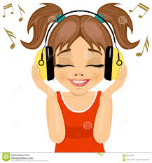 listening to music clipart. little cute girl enjoys listening to music with headphones royalty free stock photo clipart i