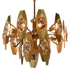 sonneman brass and glass chandelier
