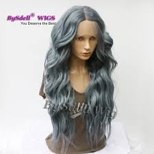 Janet Collection Wig Color Chart Newest Synthetic Dark Smoke Ash Blue Color Hair None Lace Wig Lace Front Wig Long Body Wave Peluca Wigs For Black White Women Janet Collection Remy