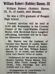 "William Robert ""Robbie"" Hamm III (1955-1987) - Find A Grave Memorial"