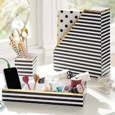 black and white office decor. printed desk accessories blackwhite stripe with gold trim pbteen black and white office decor