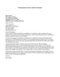 Pharmacy Cover Letter Examples Outstanding Sample Cover Letter Pharmacist Letters For