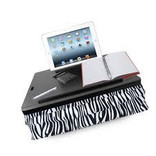icozy portable cushion lap desk with storage zebra black with zebra