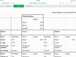 Workout Table Template | Nfcnbarroom.com