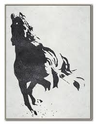 black white horse hand made extra large canvas painting abstract