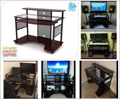 PRO Home Music Studio Desk Glass Gaming Workstation Computer Desk Keyboard  Tray