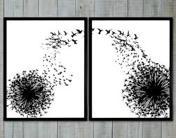 >wall art black and white dandelion and birds black and white wallart