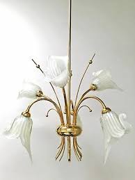 calla lily chandelier murano glass italy hollywood regency mid century brass vtg