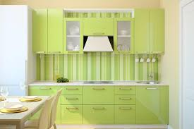 Small Picture Lovely Green Kitchen Wall Design With Wood Kitchen Set Including