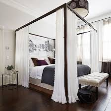 Bedroom Ideas: White Master Bedroom with Dark Wood Canopy Bed also ...