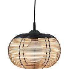 searchlight lighting single light dome cage copper pendant with black trim type