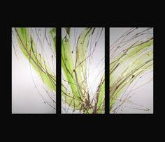 3 abstract canvas painting white lime green brown modern wall art artwork on lime green wall decor with lime green decor paint splat modern canvas print splat art