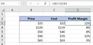 Gross Profit Formula Excel Excel Formula Get Profit Margin Percentage In Excel