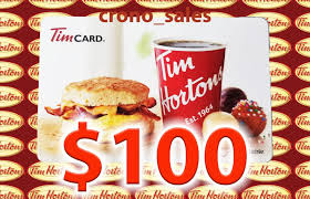100 tim hortons gift card free priority mail shipping tim horton s gift card
