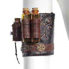 Retro Punk Brown PU Leather Copper Gearwheel Floral Carving Steampunk  Armband Arm Belt Gothic Corset Cosplay