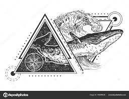 вектор творческого геометрические китов тату искусства стиля дизайн