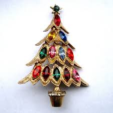 Christmas Brooches With Lights Vintage Rhinestone Christmas Tree Brooch Christmas Tree