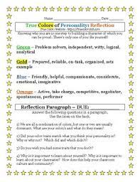 Looking for a four color printable personality quiz for teens? True Colors Of Personality Reflection By Jessica Gieryn Tpt