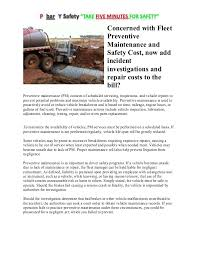 vehicles maintenance records concerned with fleet preventive maintenance and safety cost