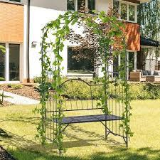 steel metal outdoor garden arbor arch with bench seat black oasis gate and solar lantern garden arch