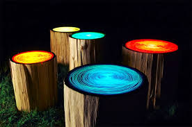 unique outdoor lighting ideas. Creative Outdoor Lighting Ideas. Log Seat Campfire Lights Ideas D Unique E