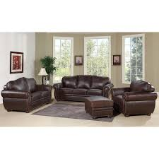 abbyson living richfield 4 piece leather sofa with arm chair and ottoman austin
