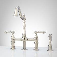 Polished Nickel Kitchen Faucet Bellevue Bridge Kitchen Faucet With Brass Sprayer Lever Handles
