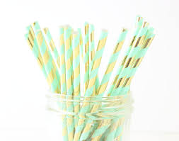 Mint Gold Straws Paper Straws Party Straws Wedding Mint Colored Paper StrawsllL