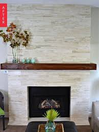before after a major mantel makeover stone fireplace