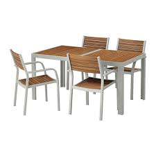 SJLLAND Table4 chairs w armrests outdoor Sjlland light brown